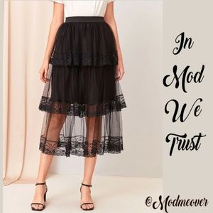 NEW Black Lace Trimmed Layered Tulle Overlay Skirt